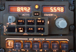 Radio Tuning Panel for aeronautical HF and VHF transceivers, 767 radio, 757 radio