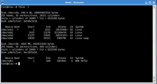 fdisk output listing drives and partitions