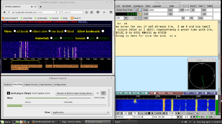 WebSDR internet radio used for receiving psk-31 and other digital radio modes - PulseAudio method.