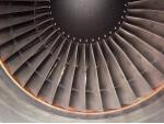 Viva Macau Boeing 767 engine with numbered N1 fan blades