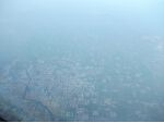 Small Chinese city in hazy conditions