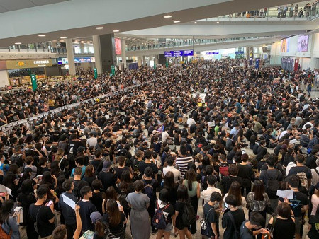 Protesters at Hong Kong International Airport