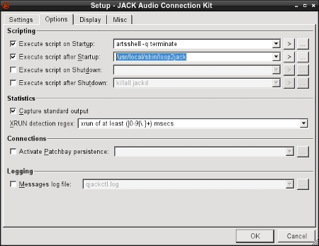 Configuring Jack Audio to use the ALSA loopback device and copy PSK-31 and MT63 signals.