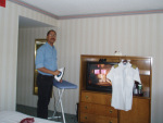 Captain Philip (webmaster) ironing his ATA Airlines <br>uniform at KDFW hotel.