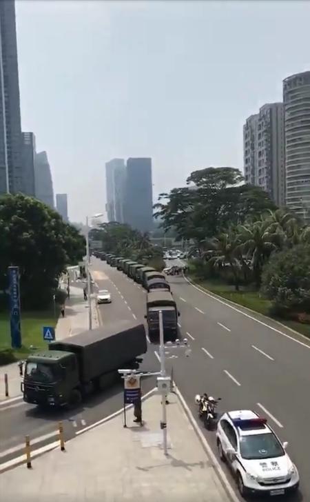 Military build up Shenzhen, China, 25 km northwest of Hong Kong.