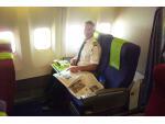 Viva Macau Boeing 767 pilot having a crew meal