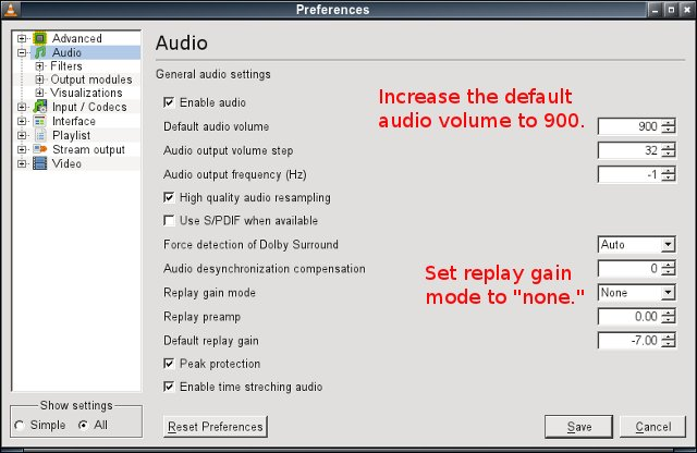 VLC audio setting for dynamic amplitude compression - volume and replay gain