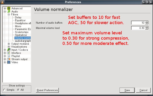 VLC audio setting for dynamic amplitude compression - buffers and volume level