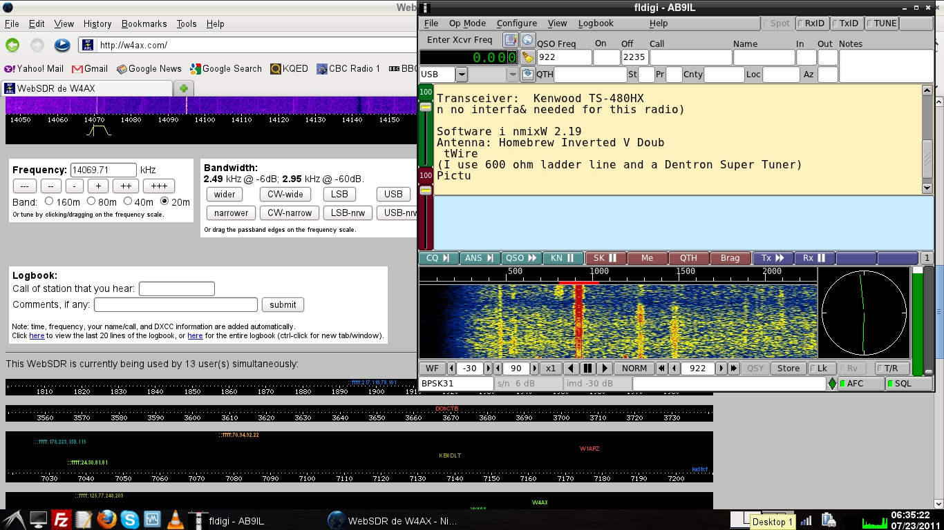 WebSDR internet radio used for receiving psk-31 and other ...