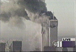 Last WPIX frame before collapse of World Trade Center 1