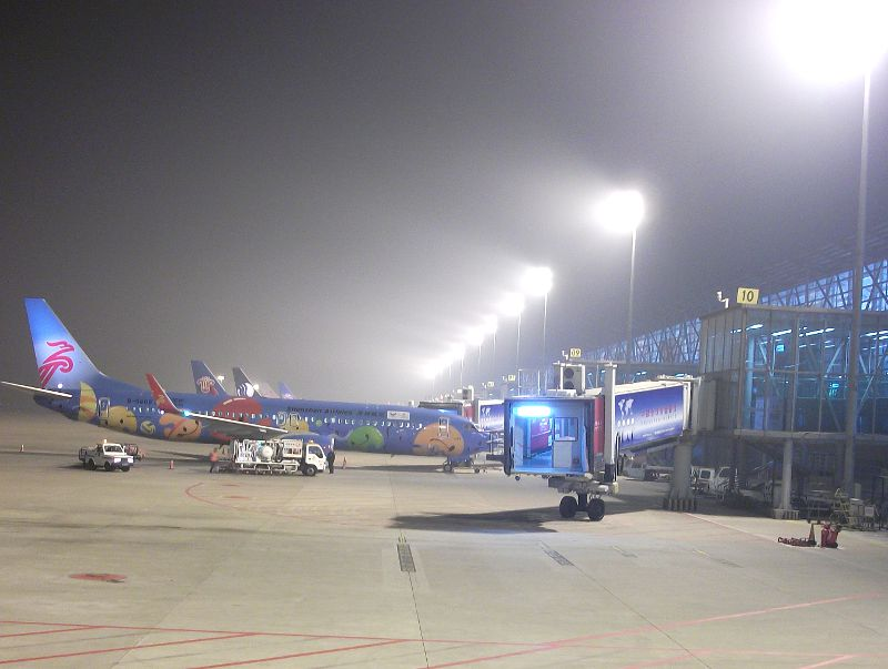 Zhengzhou airport in thick smog.  November 11, 2011